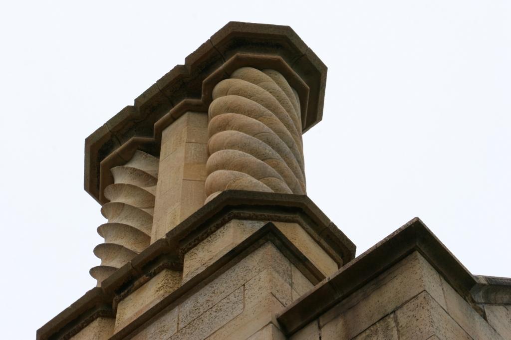 Details in architecture atop tne Kasota limestone walls.