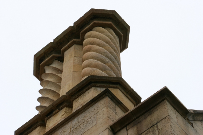Details in architecture atop tne Kasota limestone walls.
