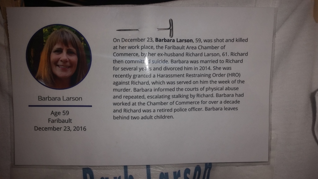 This information about Barb Larson's murder was displayed with a personalized t-shirt as part of The Clothesline Project exhibited during the MCBW Domestic Violence Homicide Memorial on Tuesday. Photo by and courtesty of Sandra Seelhammer, Rice County Blueprint for Safety Cooridnator.