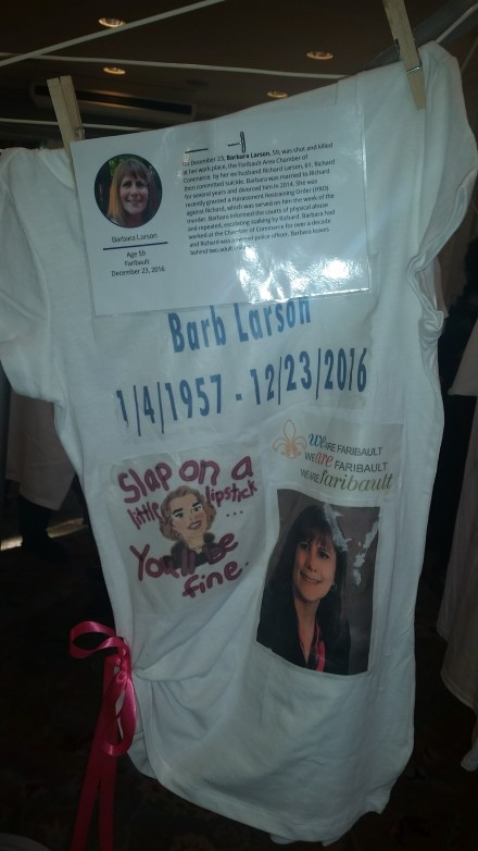 This The Clothesline Project t-shirt honors Barb Larson. Photo by Sandra Seelhammer.