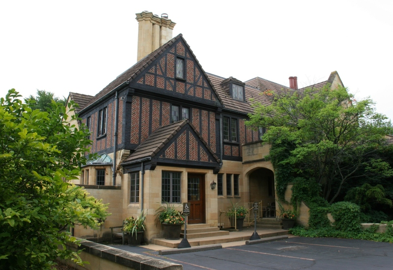 The visitors' entry to The Paine Art Center, housed in a 1920s mansion.