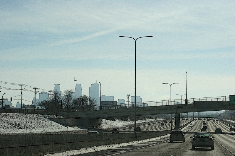 Driving toward downtown Minneapolis on Interstate 94.