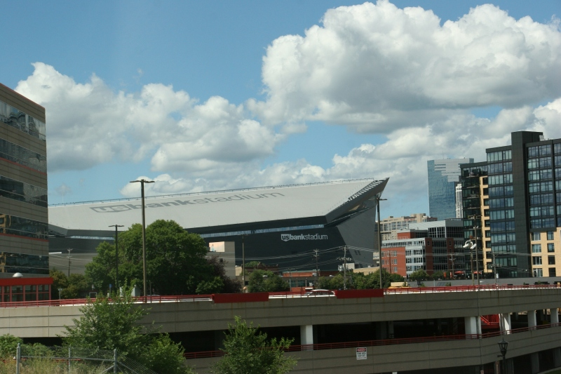 US Bank Stadium, home of the Minnesota Vikings, in downtown Minneapolis. Minnesota Prairie Roots file photo August 2016.