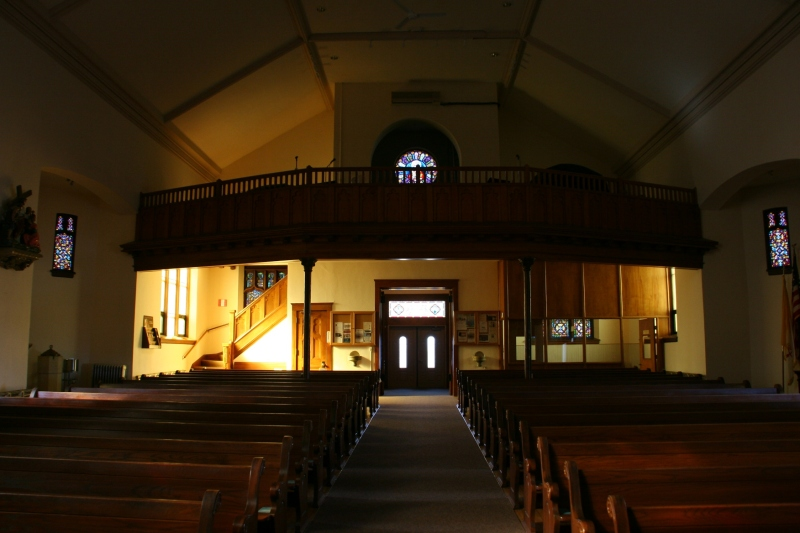 Looking toward the balcony and back of the sanctuary.