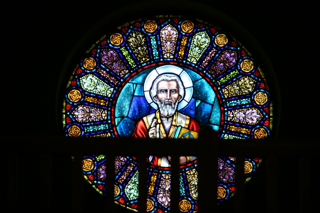 The stained glass window of St. Nicholas, the patron saint of this congregation, is situated in the balcony. I didn't go into the balcony as a sign banned unapproved visitors per insurance requirements.