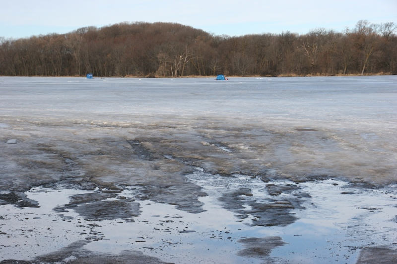 Meanwhile, on Union Lake in northern Rice County, ice fisherman by the dozens fished Sat