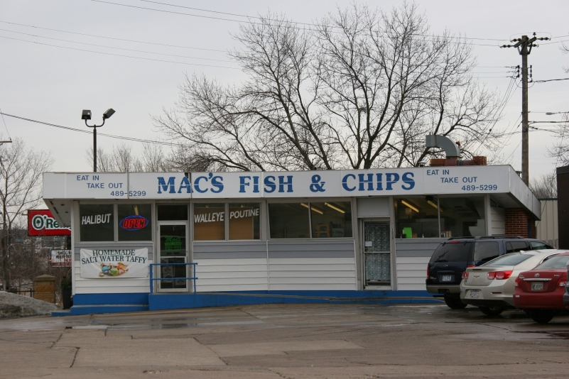 This recent roadside photo I snapped of Mac's Fish & Chips, on the corner of Hamline and Larpenteur in St. Paul, prompted this blog post. Mac serves deep-fried halibut, walleye, cod, shrimp, clams and, yes, chicken, along with a few sides in this former Clark Gas Station building. You can also buy Mac's battered walleye at Target Field in Minneapolis.