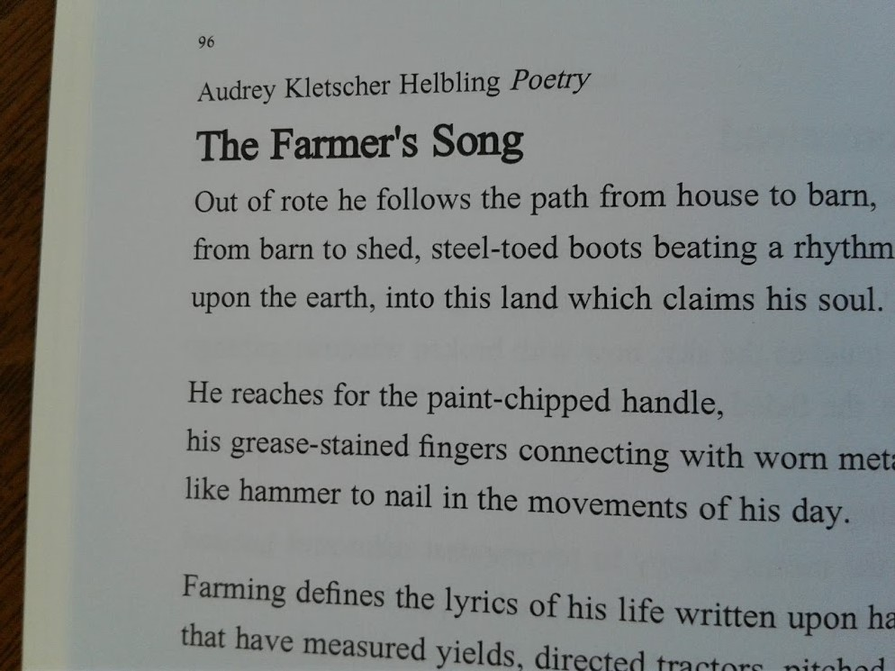 My poem initially published in In Retrospect, The Talking Stick, Volume 22, an anthology published by The Jackpine Writers' Bloc based in northern Minnesota.