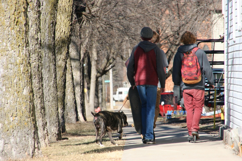 A scene in downtown Jordan on Saturday afternoon, an exceptionally warm February day in Minnesota.