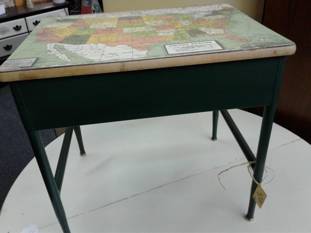 Inside The Jordan Junker I found this creatively repurposed school desk.
