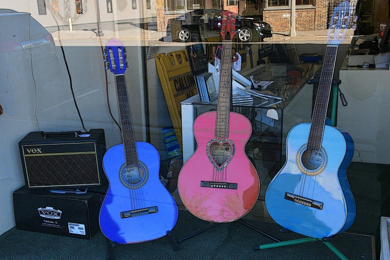 I mean, how fun would it be to play one of these guitars. Yes, I pumped up the color saturation a tad because, well, I just could. Call it artistic license.
