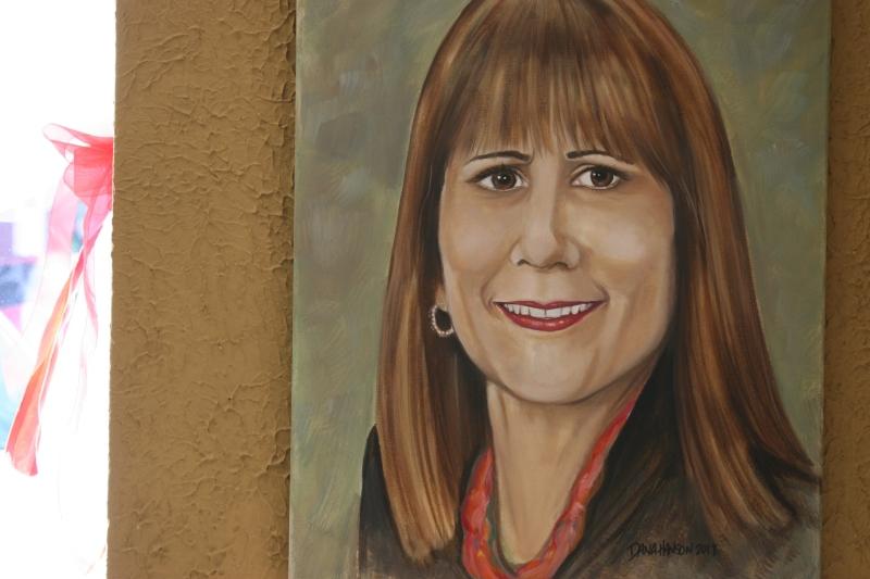 A portrait of Barb Larson by Faribault artist Dana Hanson.
