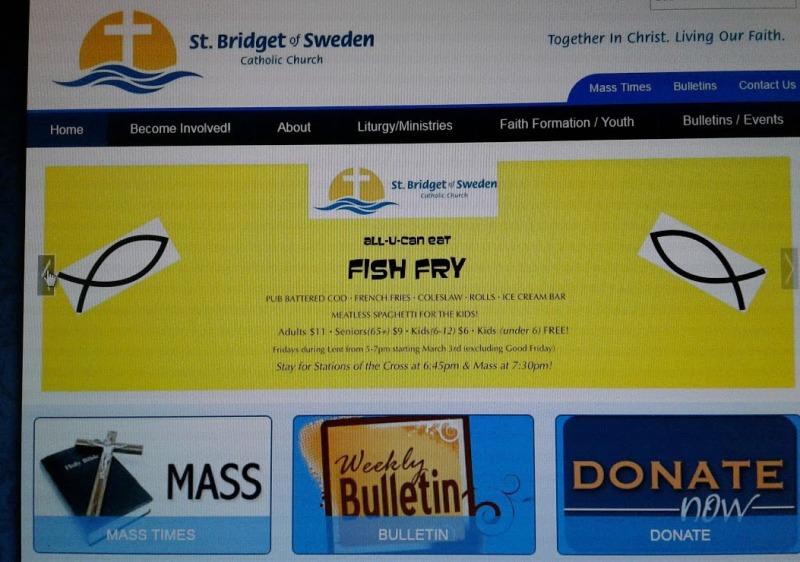 Fish Fry details from the St. Bridget of Sweden website.