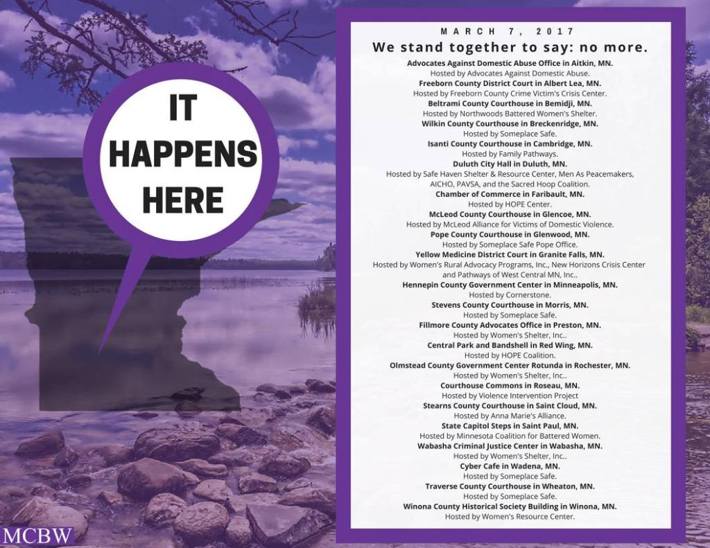 """The list of communities participating in the """"It Happens Here"""" event is posted on the Minnesota Coalition for Battered Women Facebook page."""