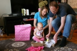 Birthday, #104 opening gifts with mom &dad