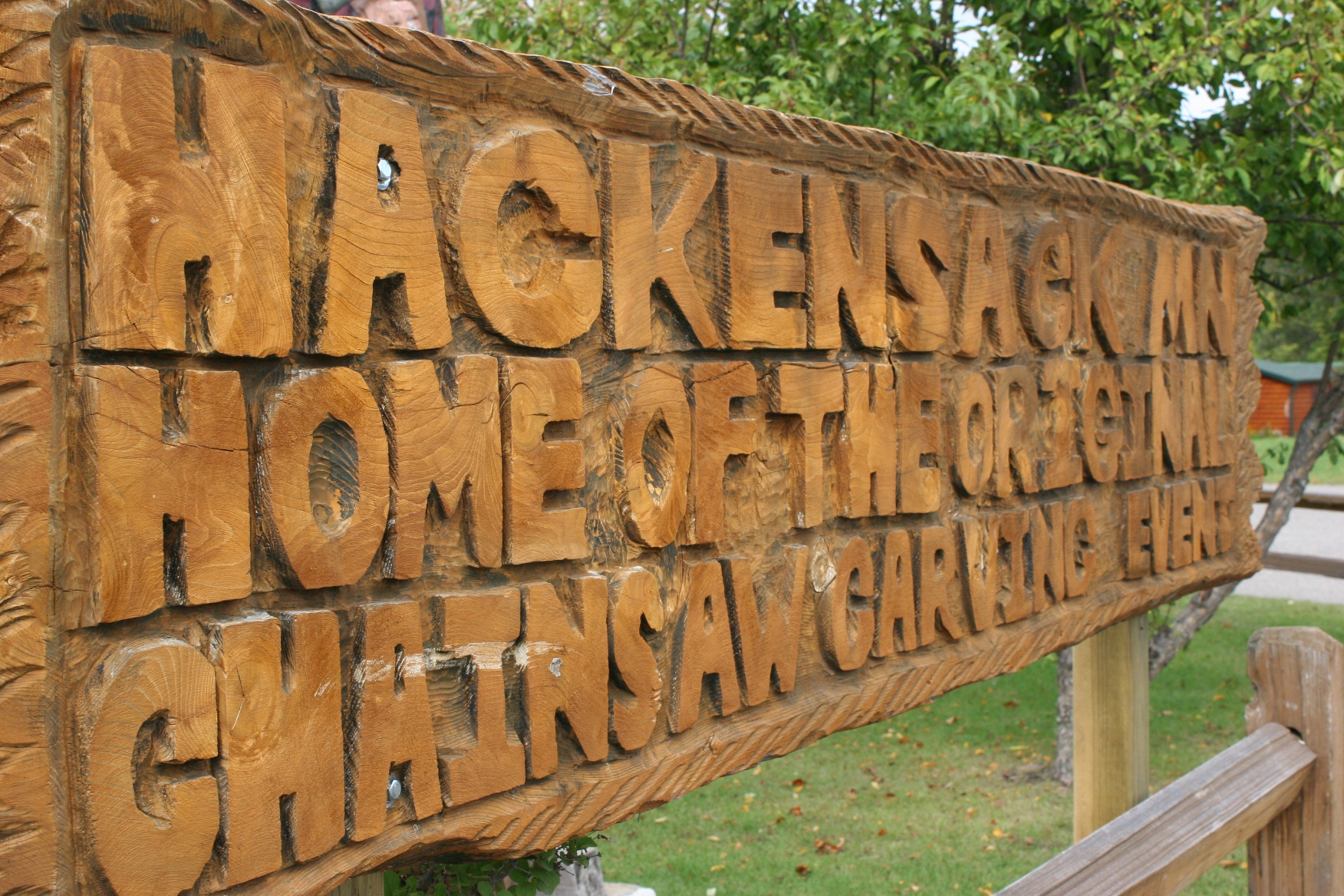 Hackensack chainsaw carving sign minnesota prairie