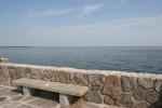 Mille Lacs Lake, #62 bench & wallclose-up