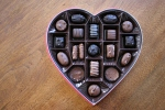 Chocolates in heart box, #12 looking downon