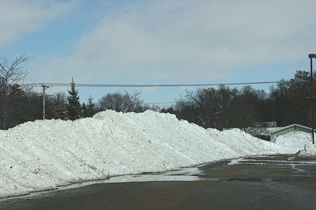 Snowy Faribault 111 Snow Piled In Hs Parking Lot