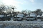 Snowy Faribault, #127 snow covered pickuptrucks