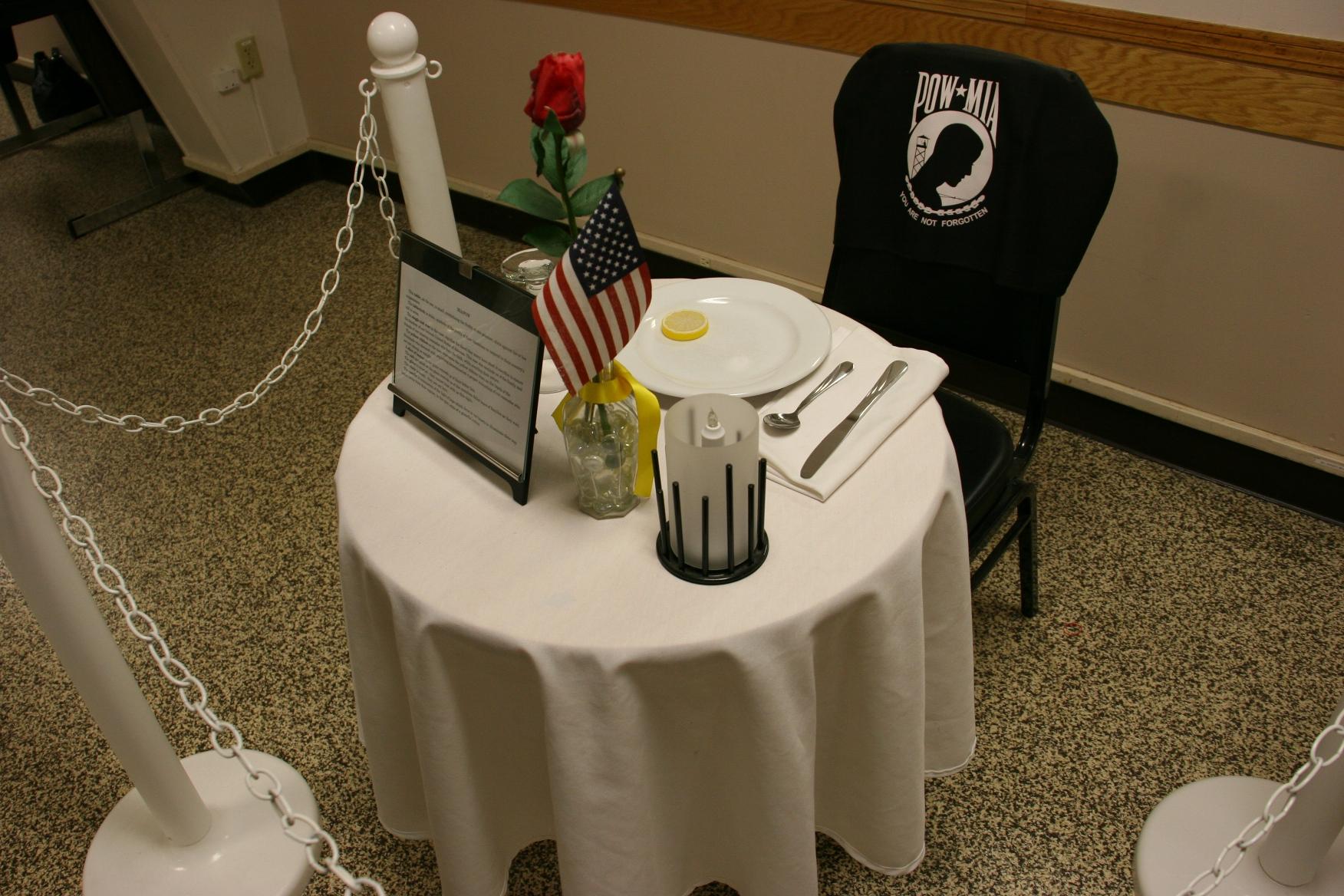 A table setting at American Legion Post 43 honors the POW-MIA. & Memorial Day in Faribault #375 MIA u0026 POW table | Minnesota Prairie ...