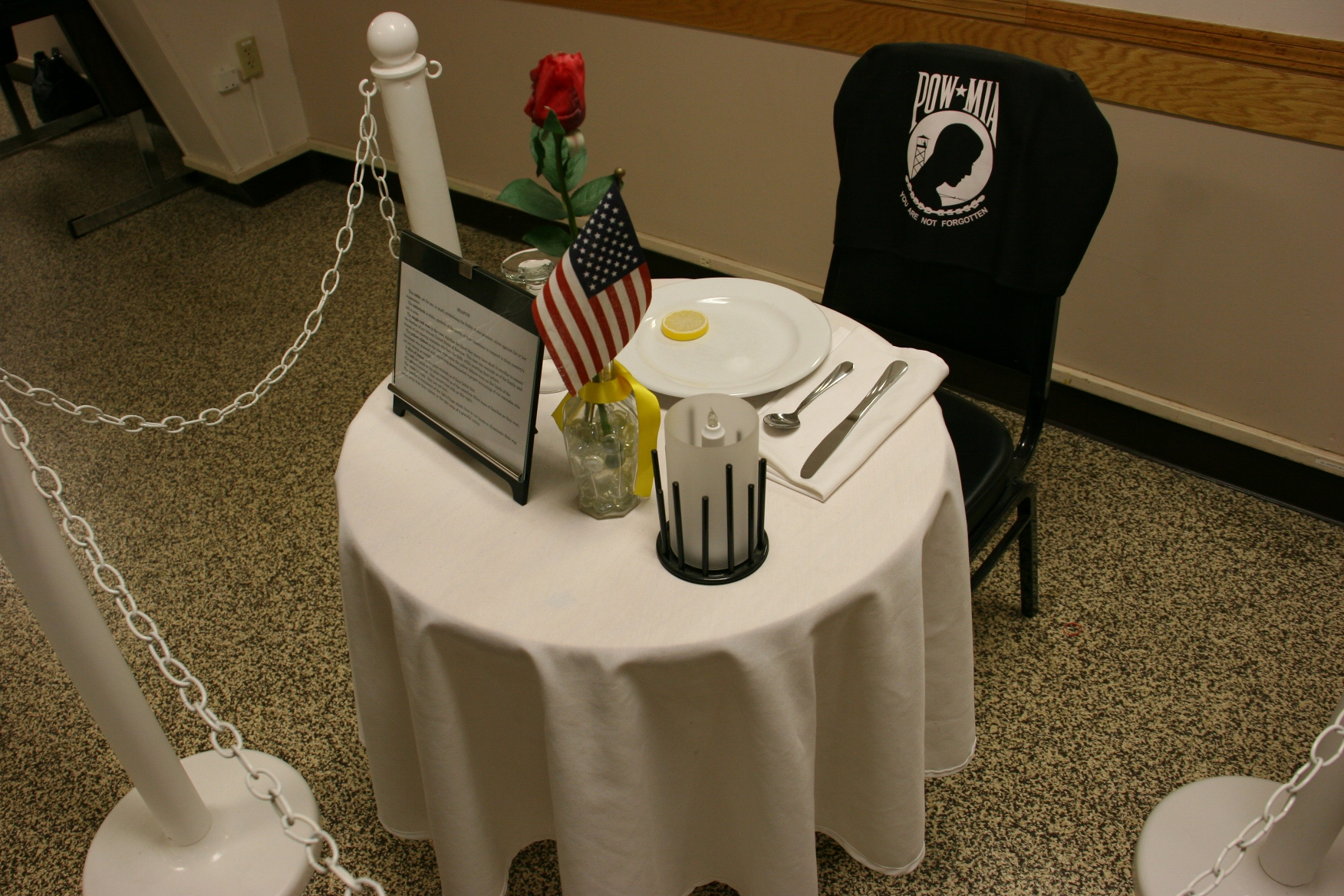 A table setting at American Legion Post 43 honors the POW-MIAs. & Memorial Day | Minnesota Prairie Roots