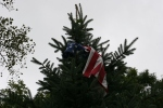 Faribault storm, #42 flag in neighbor's tree