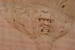 Art in Decorah, #106 stone face sculptureclose-up