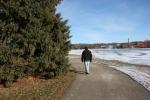 Winter walk in Minnesota, #31 walking along trail inFaribault