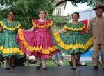 Hispanic fest, #184 dancers in flowered dressesclose-up