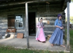 Night at the Museum, #65 girls in period dress outsidecabin
