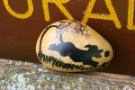 Loon sculpture, #217 dog painted onrock