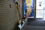 Fourth Ave UCC Church, #5432 snow shovels bydoor