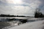 February in Faribault, MN, #6121 dam & river fromshore