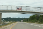 Drive to WI, #1204 American flag on interstateoverpass