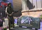 Prince memorial, #952 statue & benchclose-up